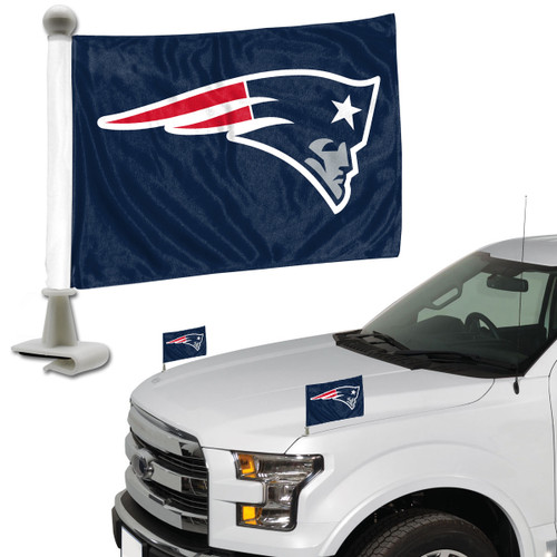 4x6 double sided auto flags securely attach to the hood or trunk of most any vehicle.  Two flags per package. Made by Team Promark.