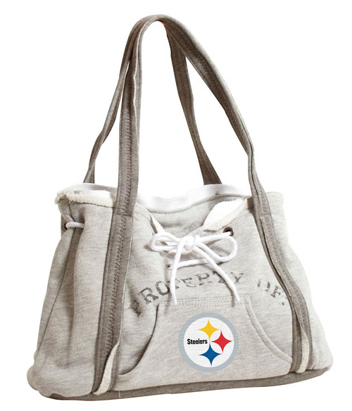 """How about a bag that looks and feels like your favorite hoodie sweatshirt? The hoodie purse is just that! This purse features metal grommets, hoodie lacing, a working kangaroo pocket, white ribbing and zig-zag stitching. It measures 15.5"""" in length, 4"""" in width, and 9.75"""" in height. Made By Little Earth"""