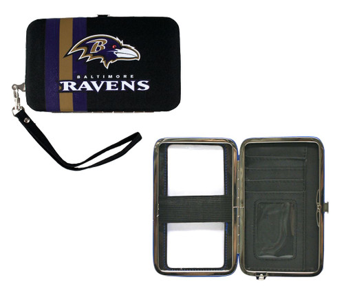 "This handy hard case wristlet/purse is perfect for going to a game or bar, when you don't want to carry a big purse around. It can hold your mp3 player or phone with an elastic strap inside. There is a clear plastic cover on the outside so you can use any touch screen smartphone to text or talk, while it's in the case.  It can also hold your ID, 2 credit cards and money!  Show your team spirit while toting your essential stuff! 6"" x 3.75"" in size. Made By Little Earth"