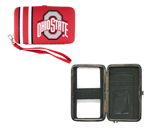 """This handy hard case wristlet/purse is perfect for going to a game or bar, when you don't want to carry a big purse around. It can hold your mp3 player or phone with an elastic strap inside. There is a clear plastic cover on the outside so you can use any touch screen smartphone to text or talk, while it's in the case.  It can also hold your ID, 2 credit cards and money!  Show your team spirit while toting your essential stuff! 6"""" x 3.75"""" in size. Made By Little Earth"""