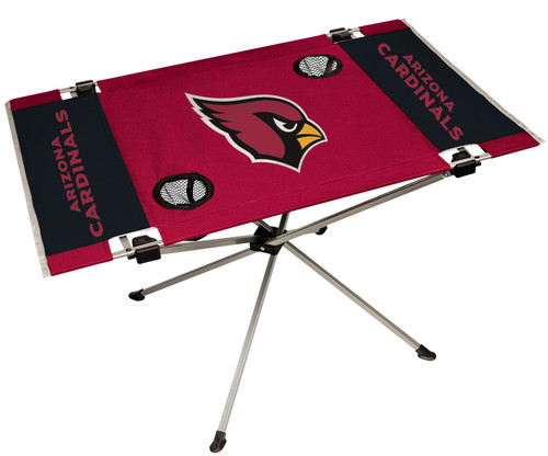 """Features team colors and three team logos with two cup holders. Great for tailgating, concerts and picnics. Includes team logo carry case. 600D polyester top and durable steel frame. Holds up to 75 lbs. Unfolded table measures 31"""" x 20.5"""" and 19"""" tall. Made by Jarden."""