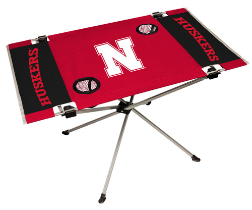 "Features team colors and three team logos with two cup holders. Great for tailgating, concerts and picnics. Includes team logo carry case. 600D polyester top and durable steel frame. Holds up to 75 lbs. Unfolded table measures 31"" x 20.5"" and 19"" tall. Made by Jarden."