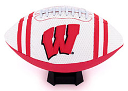 The 'Jersey' full size football features the same white mesh worn on the playing field. The team color pebble compliments the uniform-quality embroidered patches and collegiate stripes. Makes a great gift for your favorite sports fan!. Made By Jarden
