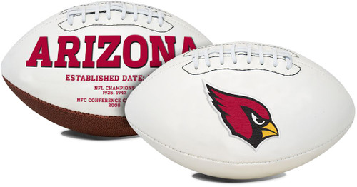 A timeless classic football with timeless appeal. This NFL football features an embroidered primary logo and embossed team history. Packaged with a permanent ink autograph pen makes this football perfect for autograph shows and game day events. This football has three white panels and one synthetic leather panel. This full size football is made by Fotoball. Made By Jarden