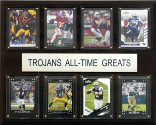 """<span>Eight of the greatest USC Trojans stars are featured on this 12""""x15"""" cherry wood plaque. The players are presented on genuine licensed trading cards from different manufacturers making this a perfect piece to display in an office, recreation room, or any spot for a fan to enjoy. The cards are protected by superior high-clarity acrylic lens covers and firmly affixed to the plaque with brass-type screws for a polished look. All cards are easily replaceable with ones from your own collection. This long-lasting piece is proudly produced in the USA.&nbsp;</span>Made by C&amp;I Collectables."""