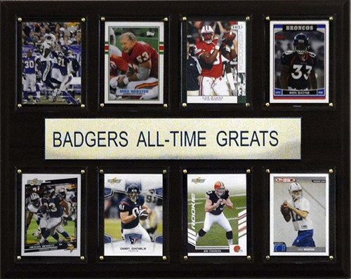 """<span>Eight of the greatest Wisconsin Badgers stars are featured on this 12""""x15"""" cherry wood plaque. The players are presented on genuine licensed trading cards from different manufacturers making this a perfect piece to display in an office, recreation room, or any spot for a fan to enjoy. The cards are protected by superior high-clarity acrylic lens covers and firmly affixed to the plaque with brass-type screws for a polished look. All cards are easily replaceable with ones from your own collection. This long-lasting piece is proudly produced in the USA.&nbsp;</span>Made by C&amp;I Collectables."""