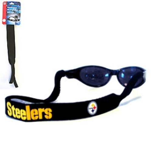 """Straps are adorned in team logos and colors. Sunglasses hang from the 16"""" strap with flexible tube openings to fit snuggly over thin to wide styles. Made By Siskiyou"""