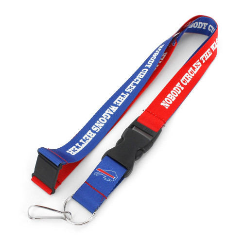 """??You know your favorite team's slogan so make sure everyone else know its with this slogan lanyard?.? Each nylon lanyard measures approximately 22"""" in length and is decorated with vibrant sublimated team colored graphics and team slogan. It features a breakaway tab and quick release buckle, ideal for car keys, ID badges and more.? 100% Nylon. Officially licensed."""
