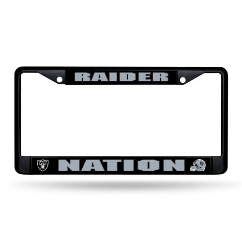 Oakland Raiders License Plate Frame Chrome Black Nation Design