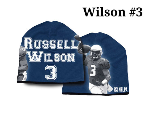 These fusion printed beanies are made from a breathable performance material with natural wicking ability and can be worn in all types of weather. The team color beanie features an image of the player along with their name and number. One size fits most. Made By American Mills.