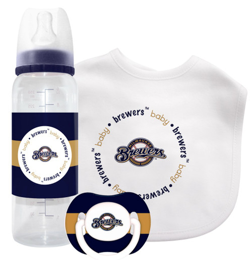 With the combination of a bib, bottle and pacifier, this set covers all the essential needs of every little fan. The bib is made of 100% cotton, features an embroidered Boston Red Sox logo, a velcro closure for easy use and is machine washable. The 9 ounce bottle is decorated with the team logo and colors, features a silicone nipple and has the measuring scale on the back. The pacifier features the team logo and colors, has a soft, clear and durable silicone nipple, and its orthodontic design encourages healthy oral development. The bottle and pacifier are BPA and phthalate free. Made by Baby Fanatic.