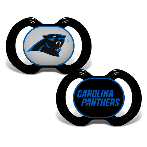 """Soothe your little fan with officially licensed pacifiers. These orthodontic pacifiers feature a silicone nipple with a plastic shield and grasping hook. The team logo is adorned on the """"button"""" with team colors decorating the shield. All items have been quality and safety tested to be 100% BPA and Phthalate free. Set of 2. Made By Baby Fanatic."""