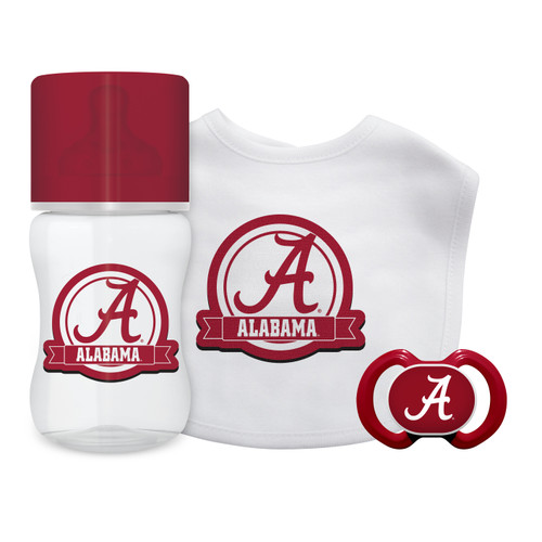 Our boxed gift set is a perfect welcome-to-the-world for little fans everywhere. It includes our 100 percent cotton-front bib with embroidered team logo, nine-ounce bottle and pacifier.Made By Baby Fanatic.