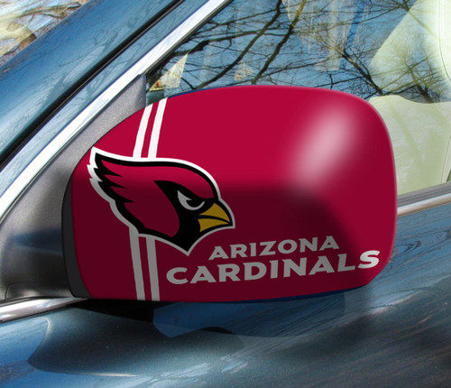 """The greatest game day and tailgating accessory for the season! These stylish Mirror Covers come in 2 sizes to fit easily over side mirrors. Washable, elastic construction ensures a tight fit. 6""""x9"""" in size. Made By Fanmats"""