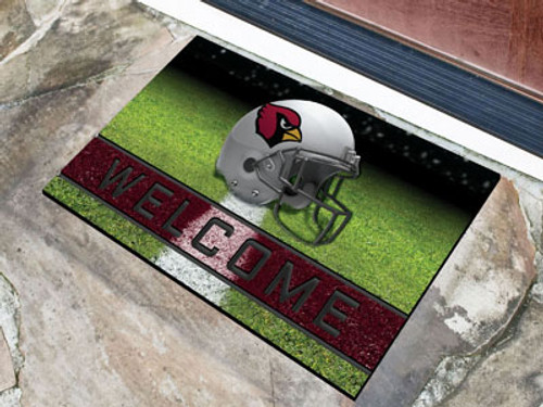 """Be sure to welcome and wow your guests by displaying your true team spirit with the officially licensed rubber door mat by Fanmats. With true team colors and fibrous surface that looks like velvet, the mat will catch everyone eyes as they enter your home. Made with a heavy duty rubber construction the Rubber Doormat will withstand any weather conditions, but cleans off easily by sweeping or spraying down with water. The 3D molded welcome strip and the fiber surface is excellent at removing dirt and mud from shoes making sure no dirt comes into the home. Made Fibrous surface that looks like velvet. Heavy duty crumb rubber construction. 3D molded welcome stripe with non-skip backing keeps mat in place. Measures approx 18"""" x 30"""". Made in the USA. Manufacturered by Sports Licensing Solutions The Maker of Fanmats. Officially Licensed NFL Product"""