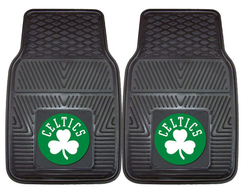 "Protect your vehicle's flooring while showing your team pride with this pair of car mats by FANMATS. 100% vinyl construction with non-skid backing ensures a rugged and safe product. Universal fit makes it ideal for most cars, trucks, SUVs, and RVs. They are approximately 18"" wide by 27"" in length. The officially licensed design is done in true team colors and is permanently molded for longevity. Two mats per set. Made By Fanmats."