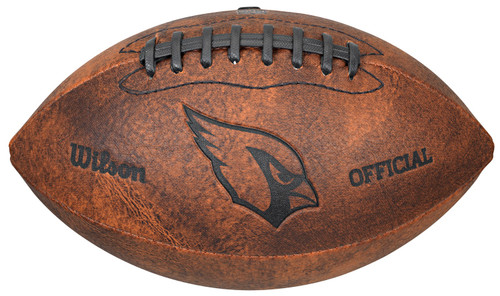 This NFL Officially Licensed 9 inch Throwback Football is made of composite leather and features composite leather stitching and laser stamped NFL team logo. Football holds two to four pounds of air and its sturdy construction helps hold its shape. Distressed brown color and black stitching help this football stand out. Can be used for decoration or to toss around. Made by Gulf Coast Sales.