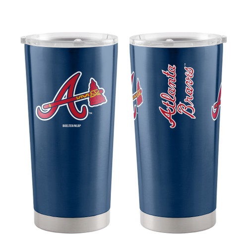 A 20 oz ultra tumbler with 18/8 stainless steel body with double-wall, vacuum insulated construction and slider top lid. Decorated with colorful team logo. Made by Boelter Brands.