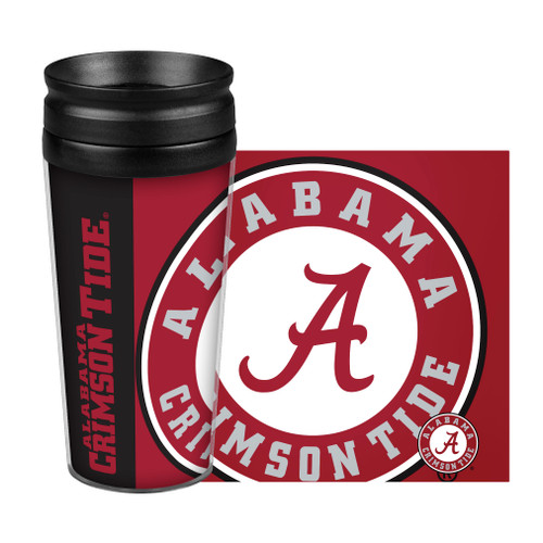 14oz double-walled, plastic travel tumbler with full wrap graphics on paper insert. Screw on Lid. BPA Free. Made By Boelter Brands.