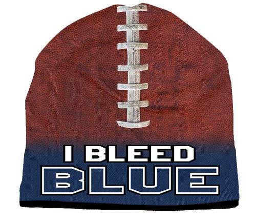Beanie I Bleed Style Sublimated Football Navy Blue Design