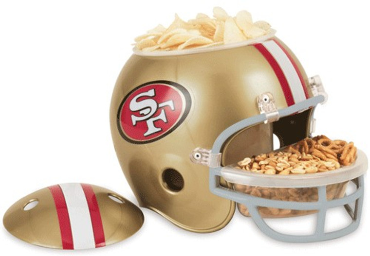 """These helmet snack bowls are perfect for game day parties! It has many great uses: ice bucket, chips & dip, candy dish, cookie jar, relish tray, even a planter! This is a great gift idea for yourself or your favorite sports fan. The helmet itself is about 9"""" tall. The snack bowl includes a removable plastic compartment that fits inside the top of the helmet & a removable divided dish that fits into the faceguard. Both are dishwasher & microwave safe. Made by WinCraft. Made By Wincraft, Inc."""