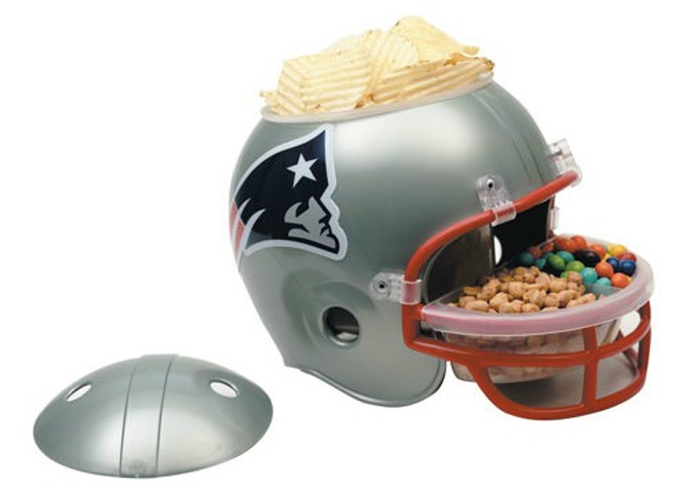 "These helmet snack bowls are perfect for game day parties! It has many great uses: ice bucket, chips & dip, candy dish, cookie jar, relish tray, even a planter! This is a great gift idea for yourself or your favorite sports fan. The helmet itself is about 9"" tall. The snack bowl includes a removable plastic compartment that fits inside the top of the helmet & a removable divided dish that fits into the faceguard. Both are dishwasher & microwave safe. Made By Wincraft, Inc."