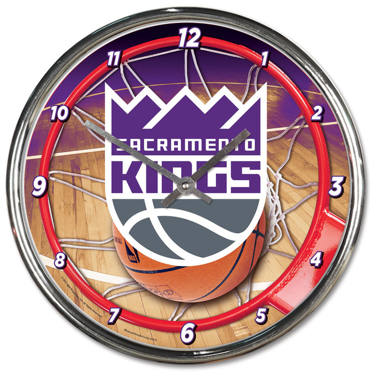 Sacramento Kings Clock Round Wall Style Chrome