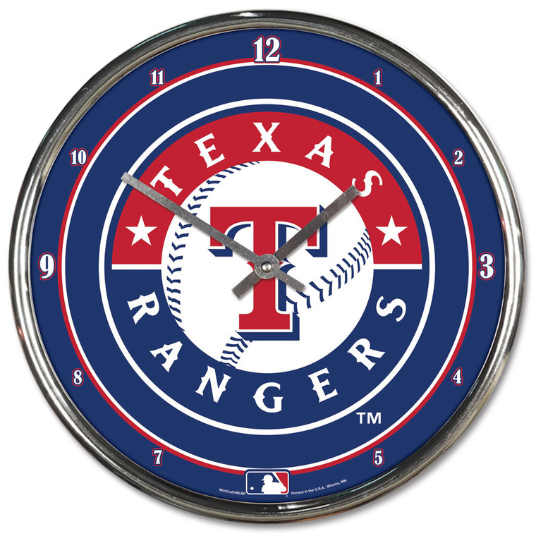 <span>This 12 inch plated clock is both a retro classic and a trendy find for a wall clock.&nbsp; Stunning graphics with a metal hands make a great fit in any fan cave, office, bar, or bedroom.&nbsp; Printed and assembled in the US with imported materials. Made by Wincraft.</span>