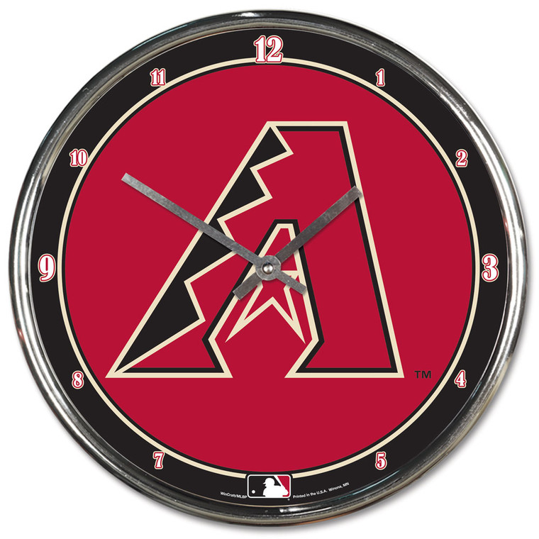 This 12 inch plated clock is both a retro classic and a trendy find for a wall clock. Stunning graphics with a metal hands make a great fit in any fan cave, office, bar, or bedroom. Printed and assembled in the US with imported materials. Made by Wincraft.