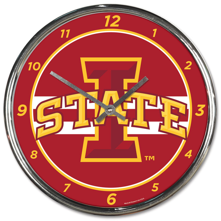 """The 12"""" Chrome plated clock is both a retro classic, and a trendy find for a wall clock. Stunning graphics with a metal hands make a great fit in any fan cave, office, bar, or bedroom. Printed and assembled in the US with imported materials. Made By Wincraft, Inc."""