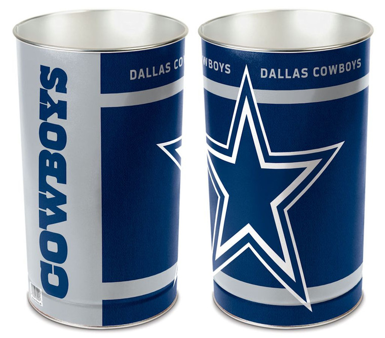 """These high quality metal waste baskets are great for a rec room, child's room, bathroom or anywhere you want to show your team spirit! They are 15"""" tall, and about 10"""" wide at the top. They have a tapered top, and feature bright colors and great graphics. The graphics are on both sides of the trash can. Made by WinCraft."""