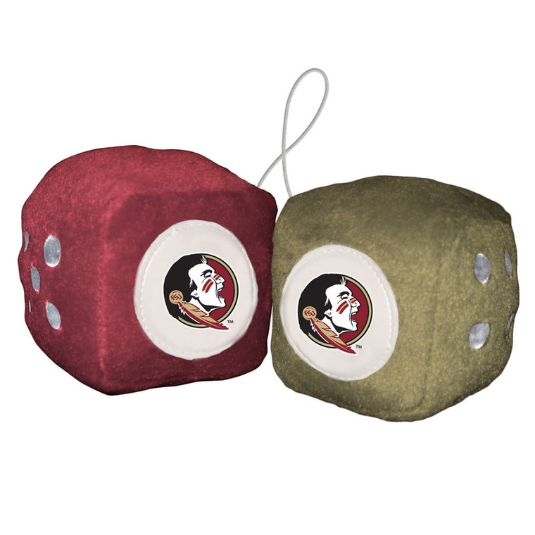 """Hang them in your car, sports room, office, or kids room! The possibilities are endless! This set of dice are made of a high quality plush, and each are 3"""" in size. They come on a string to easily hang anywhere you choose! A perfect gift for any sports fan! Made by Fremont Die. Made By Fremont Die"""