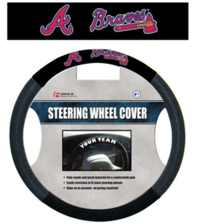 Drive in style with these high quality poly-suede steering wheel covers!  This cover is made of poly-suede and mesh for a comfortable grip and features your favorite team logo.  It easily stretches to fit most steering wheels and slips on in seconds, with no lacing required. Made By Fremont Die.