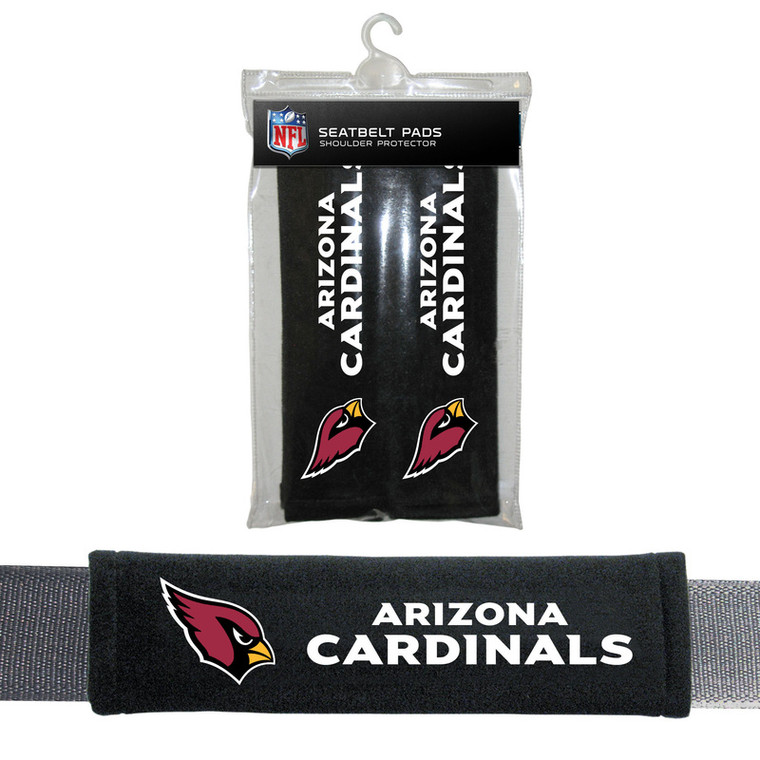 Let your team spirit shine with these high quality soft velour comfort seat belt pads. Features a hook and eye velcro closure for universal fit on all seat belts. Also great for luggage, messenger bags and anything with a shoulder strap. Set of 2. Made By Fremont Die.