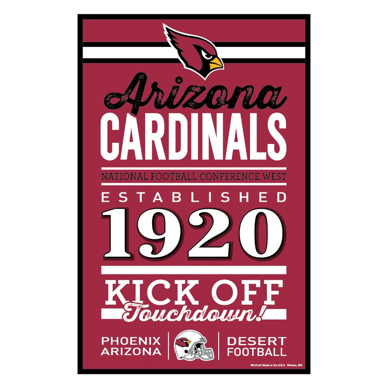 Sign measures 11x17 and is 1/4 inch thick. Decorated with the colors of your team with the established date. Made by Wincraft.