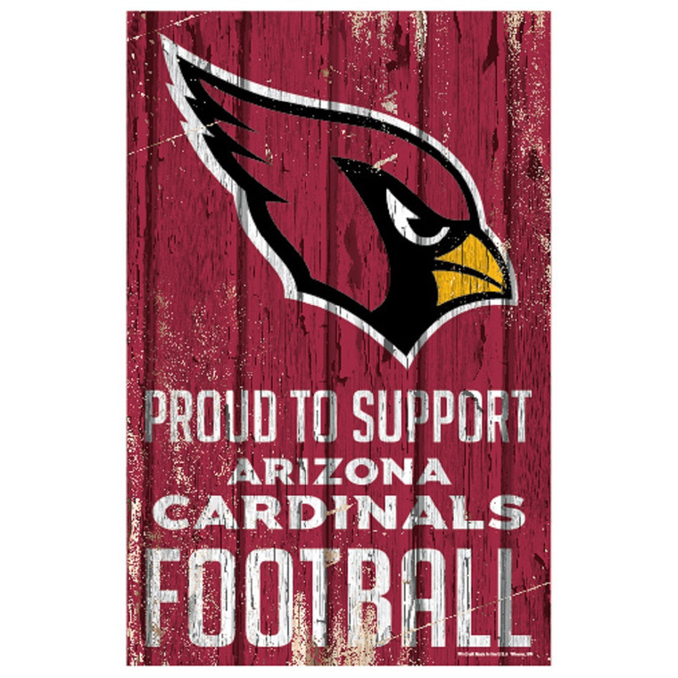 Sign measures 11x17 inches. Decorated with the colors and slogan of your team. Made by Wincraft.