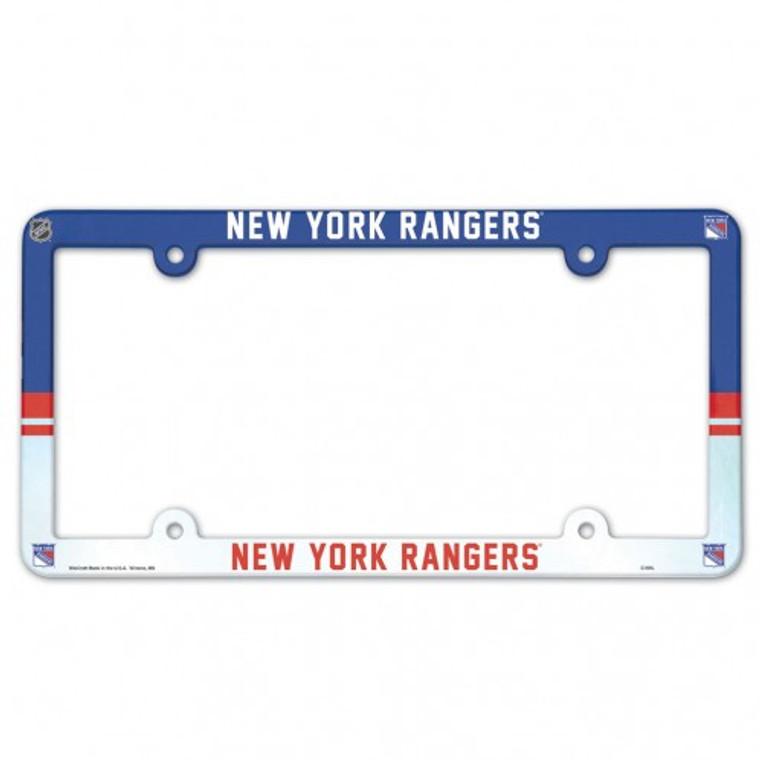 New York Rangers License Plate Frame Plastic Full Color Style