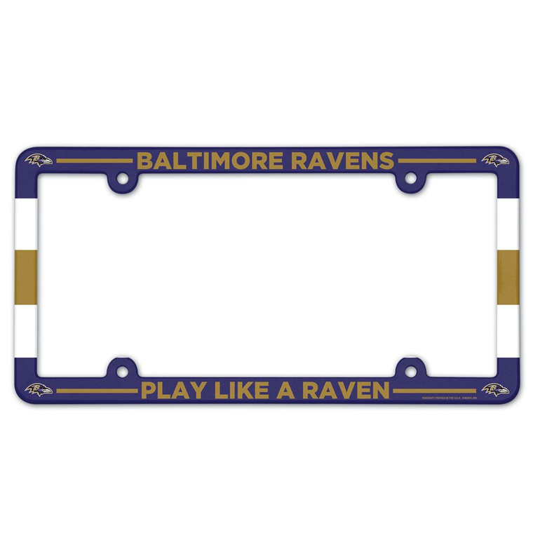 Full Color License Plate Frame for a standard car license plate, front or back; is molded in durable plastic and top surface printed with a durable ink on the entire surface. The design maximizes space for tab sticker clearance. Made in USA. Made by Wincraft.