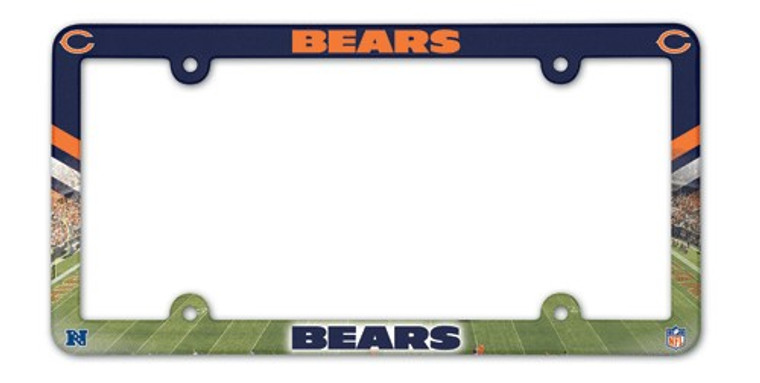 Full Color License Plate Frame that are usable as a fan decoration on the outside of a standard car license plate, front or back. The frame is molded in durable plastic and top surface printed with a durable ink on the entire top surface. The design maximizes space for tab sticker clearance, but you should still check the legalities of frames in your state. Made in USA. Made By Wincraft, Inc.