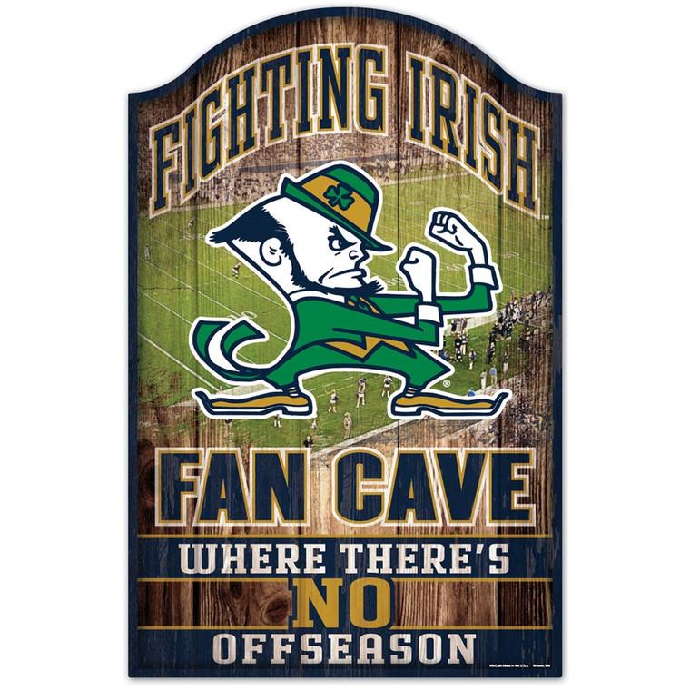 Notre Dame Fighting Irish Sign 11x17 Wood Fan Cave Design