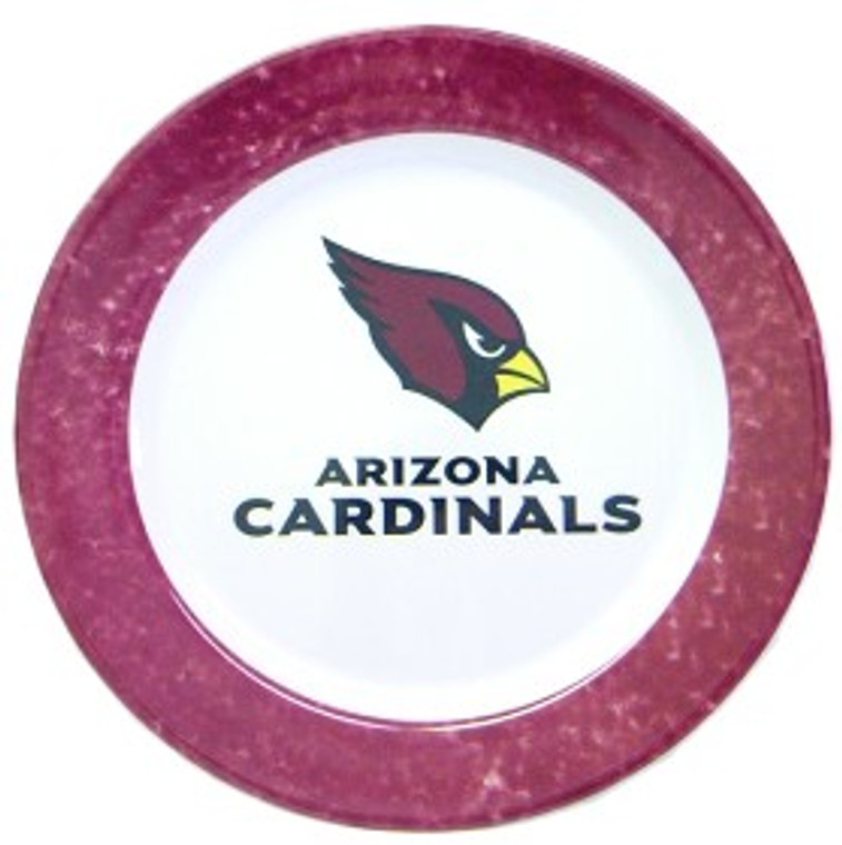 Show your team spirit at every meal. These beautifully designed melamine dinner plates are 10.25 inches in size. Dishwasher safe and not recommended for microwave use. Each set includes 4 plates. Made by Duck House Sports.
