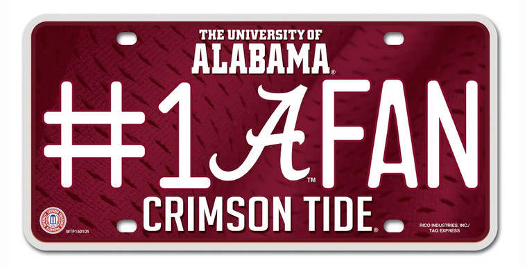 """Show off your team spirit with this aluminum license plate! They are 1/16"""" thick and 6""""x12"""" in size. These are great for the car, or even to display at home or the office. They feature bright, vibrant colors that will catch anyone's eye! Made By Rico Industries."""