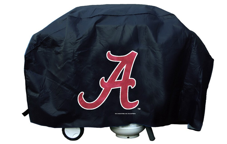 """Show your favorite team and protect your barbeque grill at the same time! The cover is made of a .15 mil thick vinyl with 1/4"""" flannel lining to protect stainless grill finishes. The stitching is tested at 30 lb. pull strength. The hook and loop velcro closures hold the cover in place during high winds. Large team logo is printed on one side. The grill cover will fit a grill up to 68"""" wide, 35"""" high and 21"""" deep. Made by Rico."""