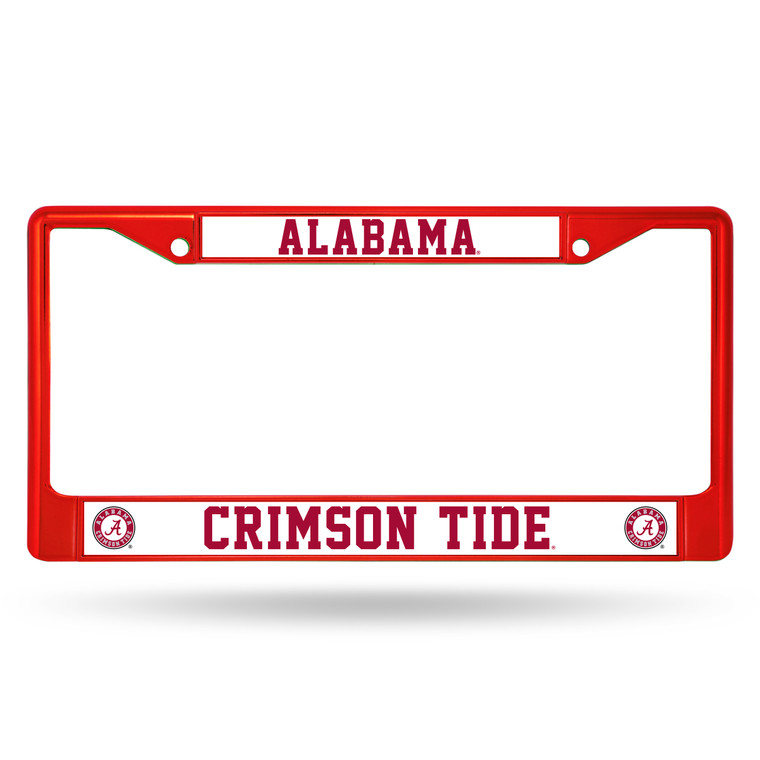 """Let everyone know who you're rooting for with this Color Chrome License Plate Frame from Rico Industries! This frame is officially licensed and easy to mount on just about any license plate.The frame measures at 12"""" x 6"""" with plastic team inserts at the top and bottom of the frame. It's decorated in vibrant team colors and its Zinc Metal construction makes it resistant to the elements. Made By Rico Industries."""
