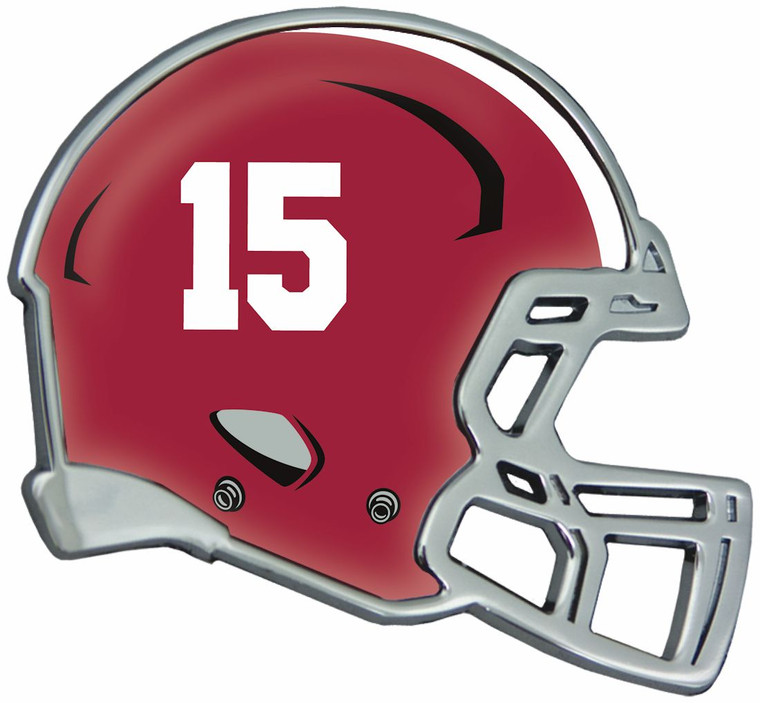 """This 3.2""""x 3"""" Helmet Shaped Auto Emblem is made from heavy metal and triple chrome plated for a long lasting great look. It features a full-color domed insert highlighting your teams helmet! Made to last for years. Comes with easy to use peel and stick foam adhesive (which is strong and shaped to match the design; not strips). Officially Licensed Product exclusively by Stockdale. USA decorated. Made By Stockdale Technologies"""