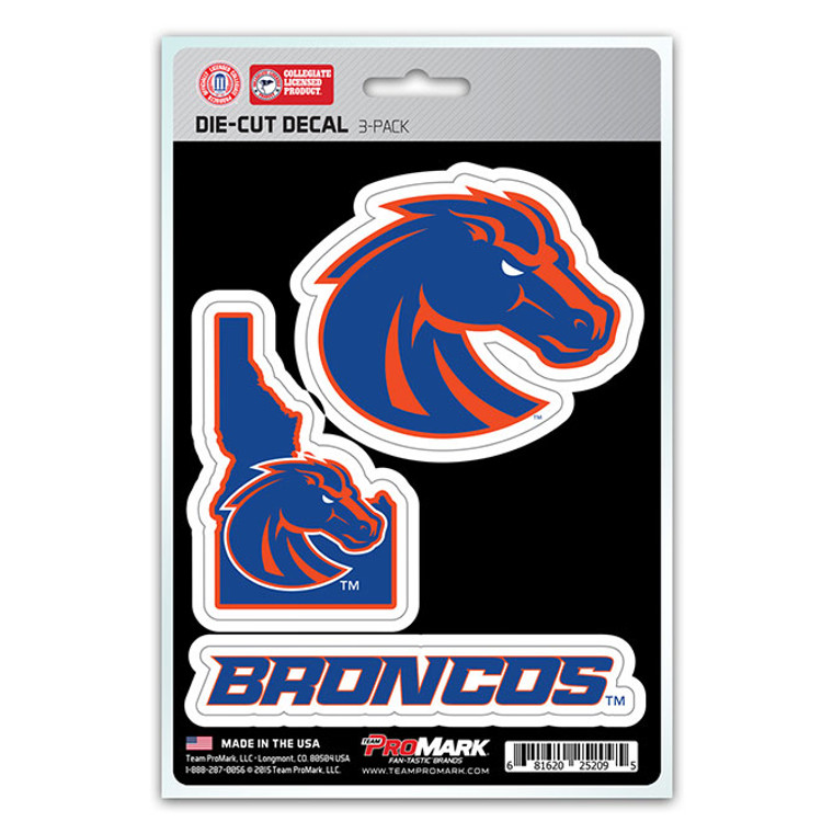 Boise State Broncos Decal Die Cut Team 3 Pack