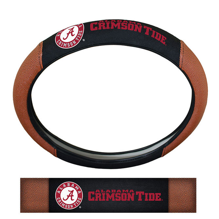 Premium steering wheel cover that fits on most vehicles. Features embroidered team logos and pig-skin leather side accents. Fits most standard size steering wheels 14.5in to 15.5in. Rubberized core provides a secure no-slip grip. Made by Team Promark.