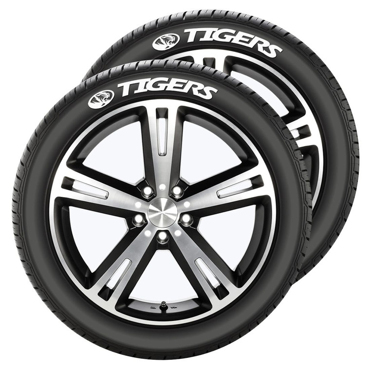Show your team pride with these easy to apply Tire Tatz. The raised white rubber decals provide a great look for any tire. Quality decals made of a rubber compound will last the life of the tire. Includes adhesive for easy application. The kit includes a pair of decals for 2 tires. Tire Tatz measure approximate 9in x 1.5in and will fit on any tire with a 2 inch sidewall. Made By Team Promark