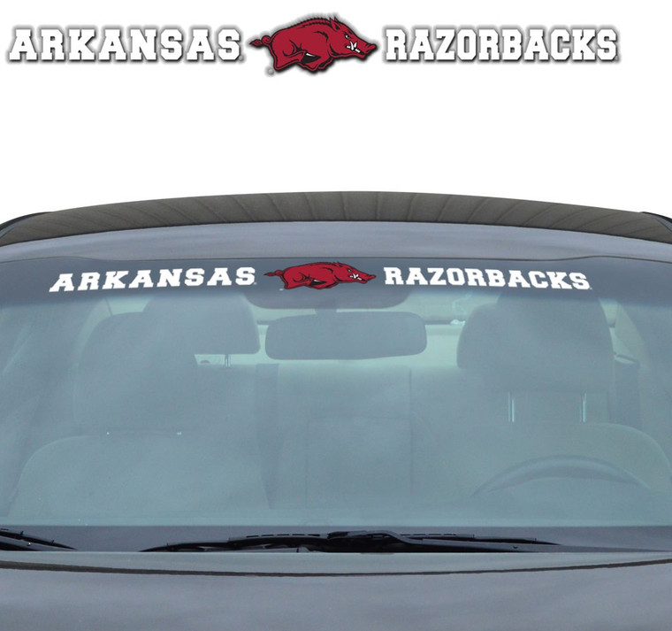 Show your team pride front and center with the Windshield Decal. The durable vinyl construction makes installation easy and will stand up to the elements. Designed for a perfect fit on curved windshield surfaces. The universal (35in x 4in) size will fit on virtually any windshield. Features a full color, die cut team logo and word mark. Made By Team Promark