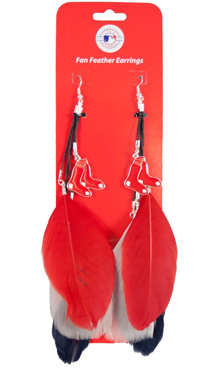 """Support your favorite team while wearing these stylish hook earrings! The feather earrings features your team color and a pewter dangle logo. Each earring has 3 feathers that are each approximately 3"""" long. Total length is approximately 6.5"""" long. Made By Little Earth"""